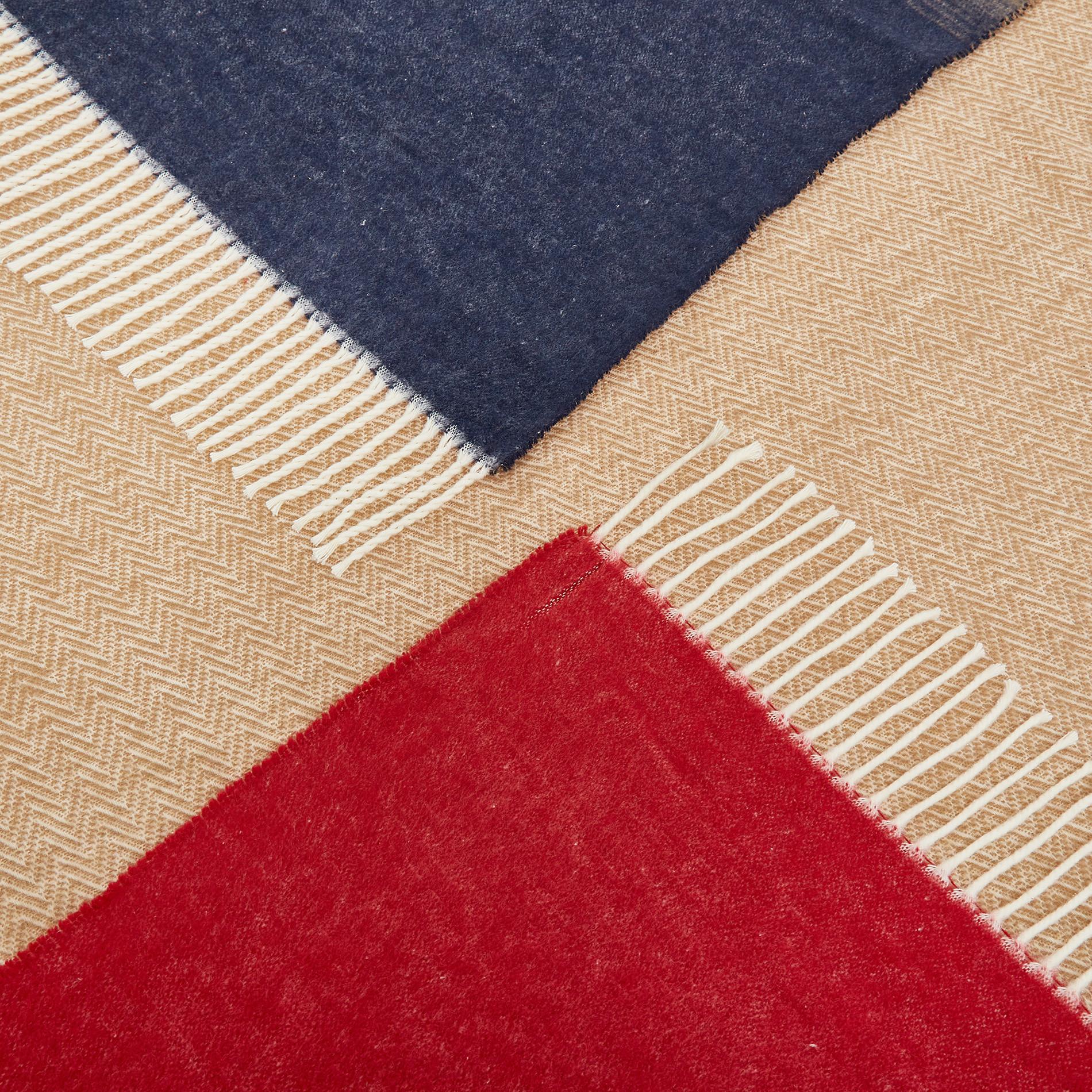 Plaid misto cotone con frange, Rosso, large image number 1