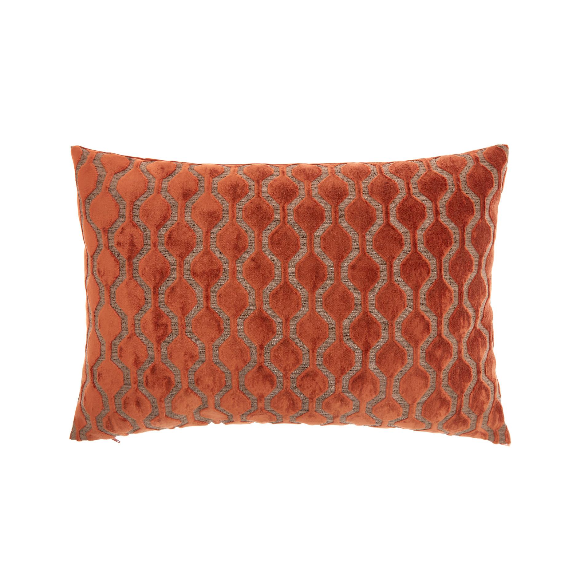 Cuscino velluto motivo geometrico 35x55cm, Marrone chiaro, large image number 0