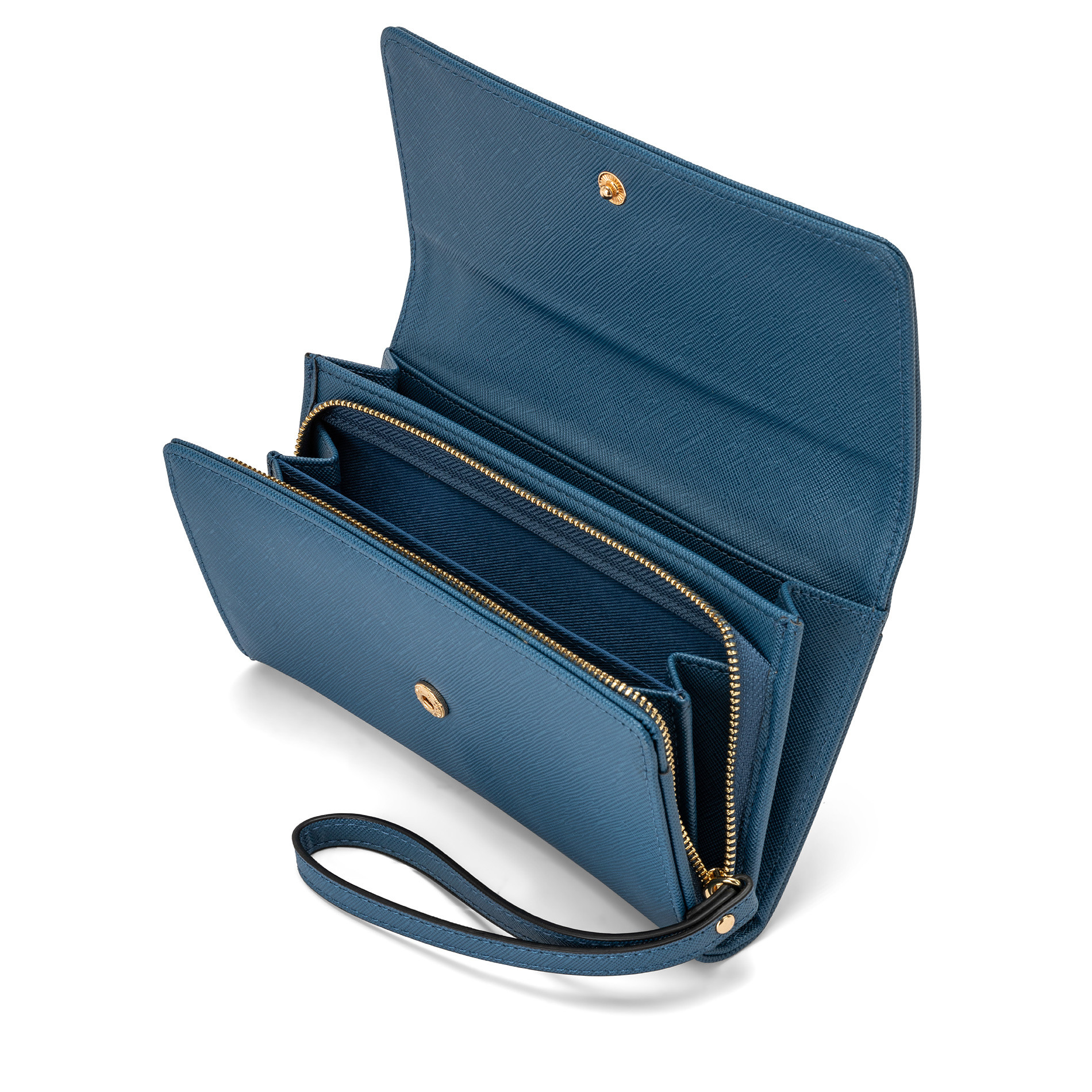 Portafoglio effetto saffiano Koan, Azzurro, large image number 2
