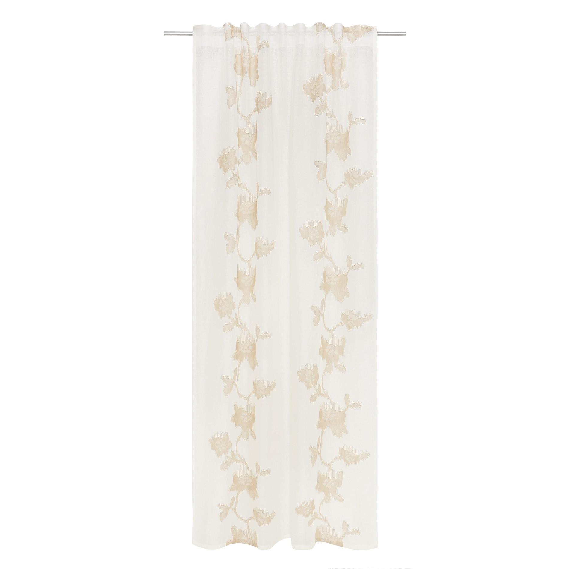 Tenda puro lino ricami floreali, Bianco/Oro, large image number 1