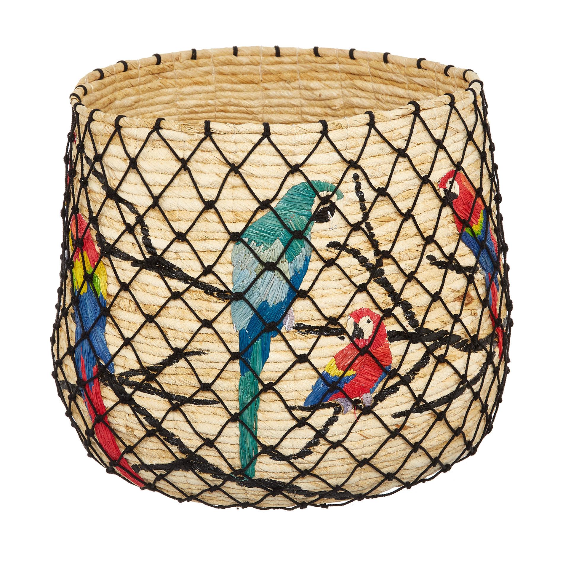 Cesto paglia intrecciata a mano decoro pappagalli, Trasparente, large image number 0