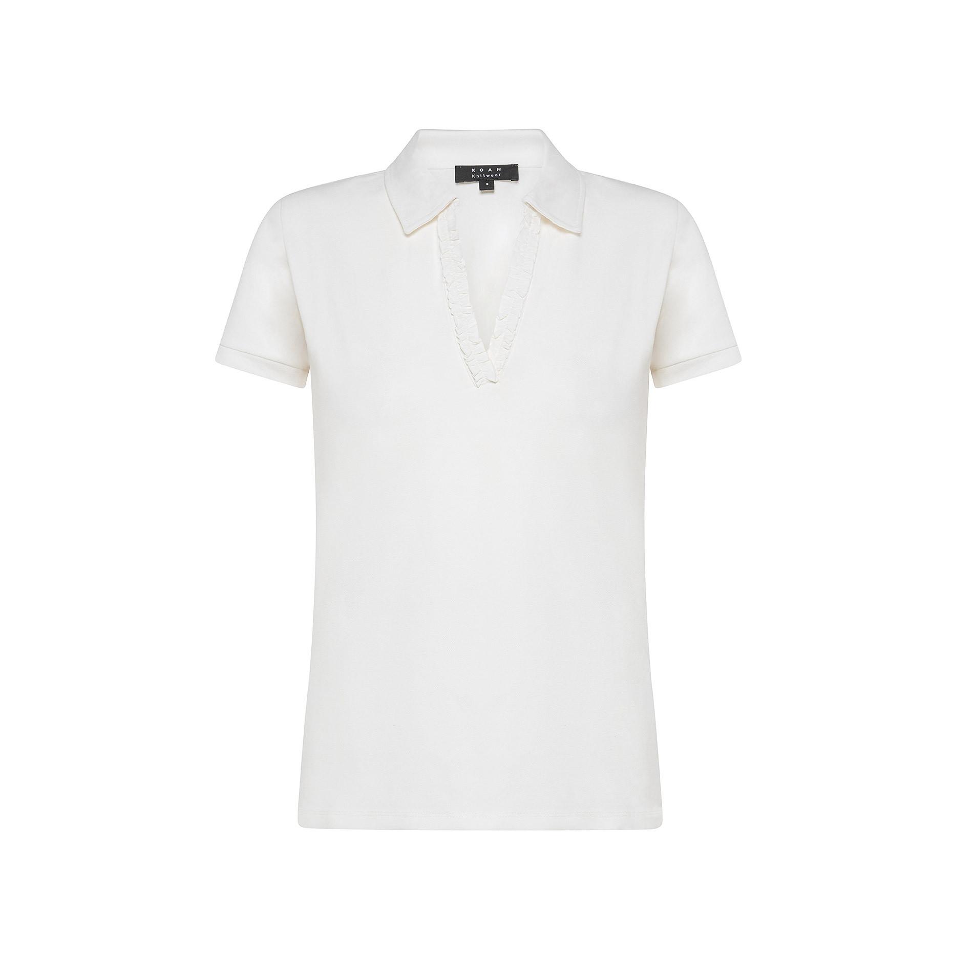 Polo cotone tinta unita, Bianco, large image number 0
