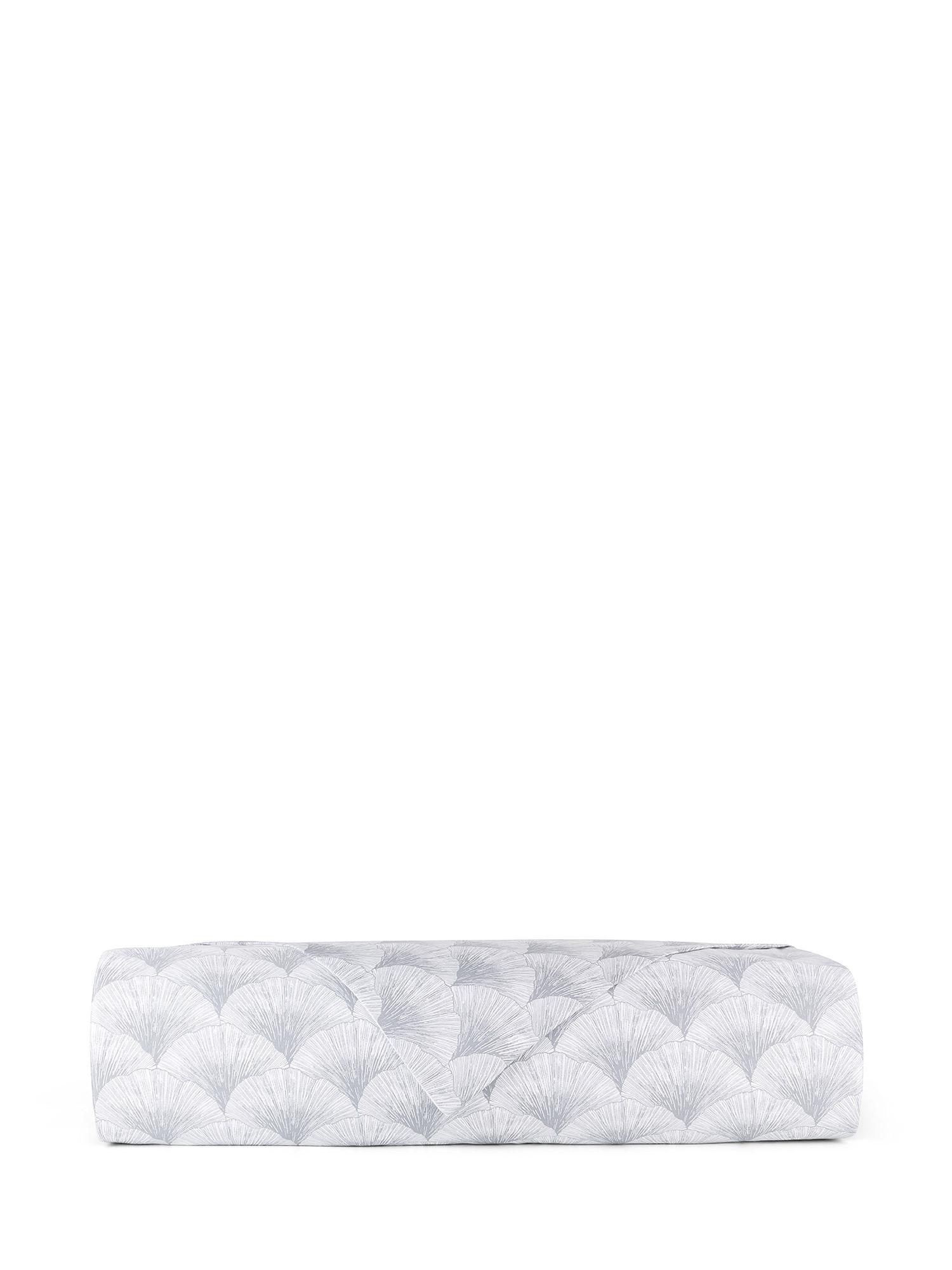 Copripiumino raso di cotone fantasia Ginkgo, Bianco, large image number 1