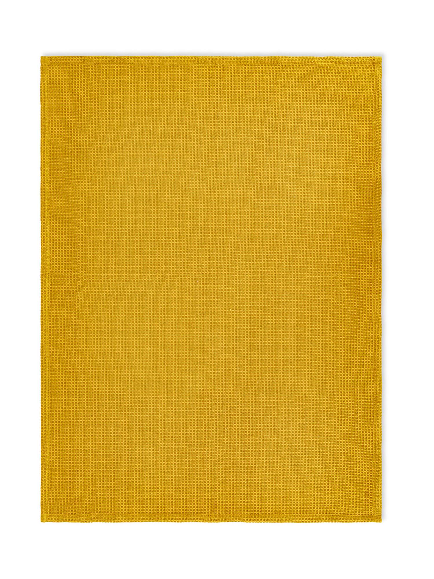 Set 2 strofinacci puro cotone stampa foglie, Giallo, large image number 1