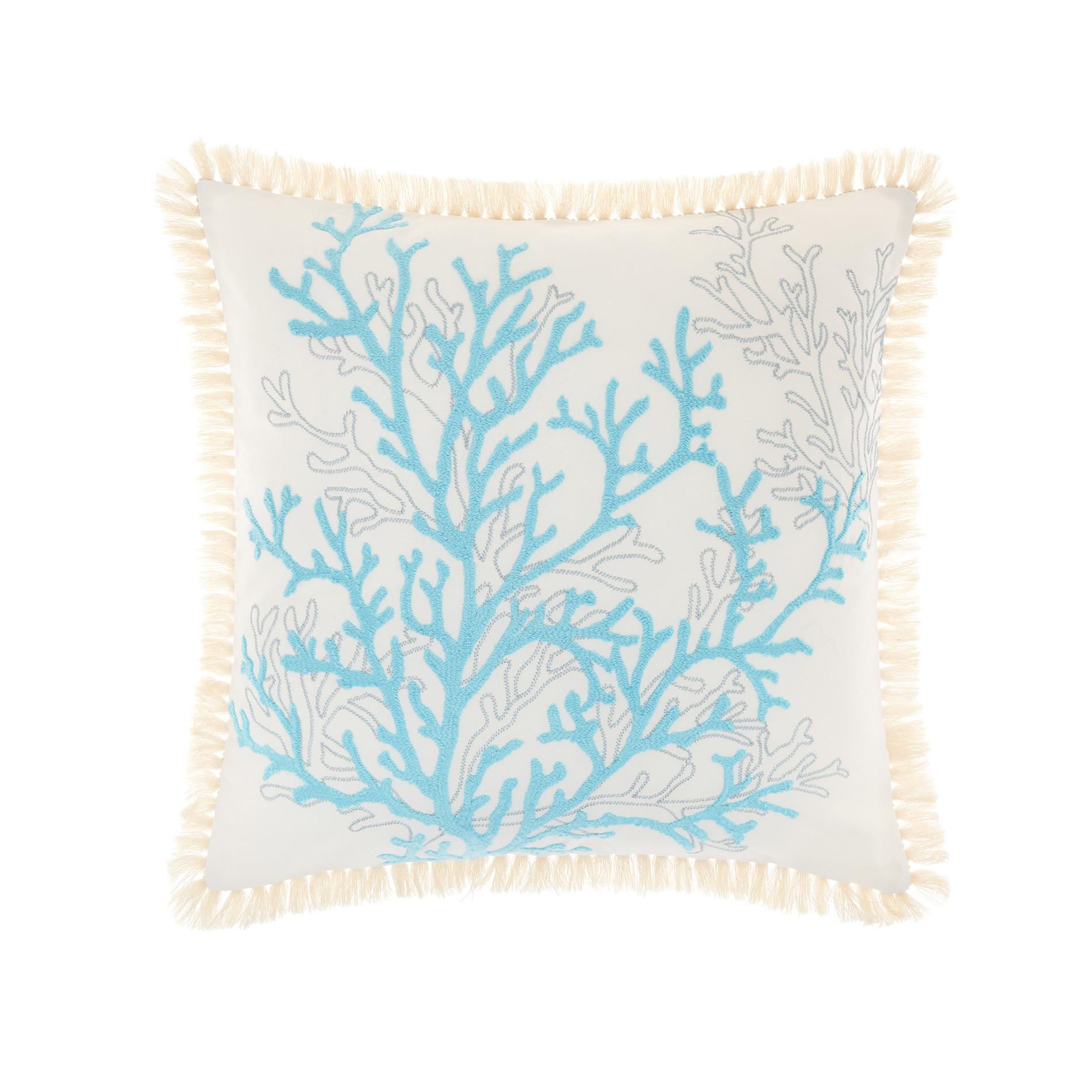 Cuscino ricamo coralli 45x45cm, Azzurro, large image number 0
