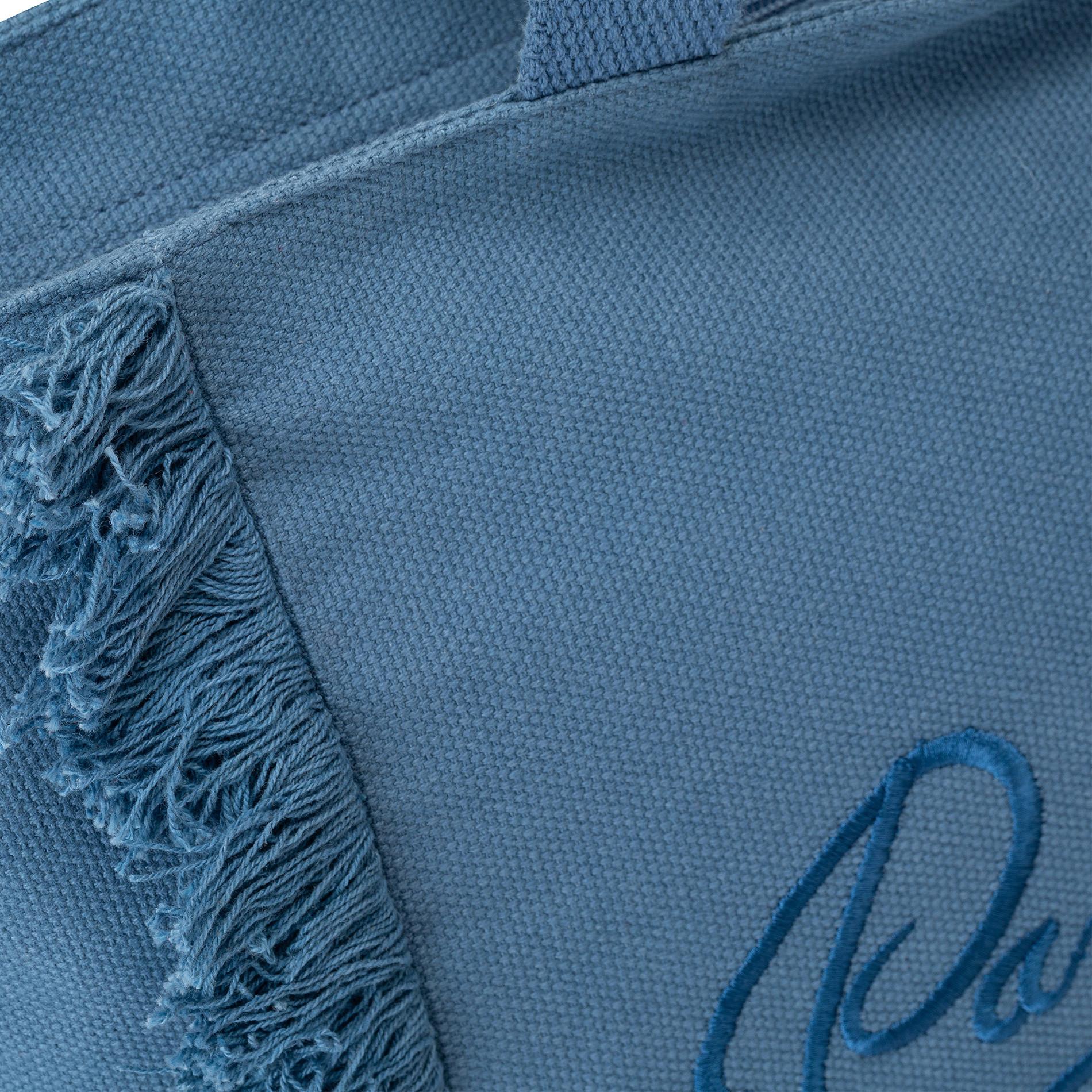 Shopper in canvas di cotone con ricamo, Blu, large image number 1