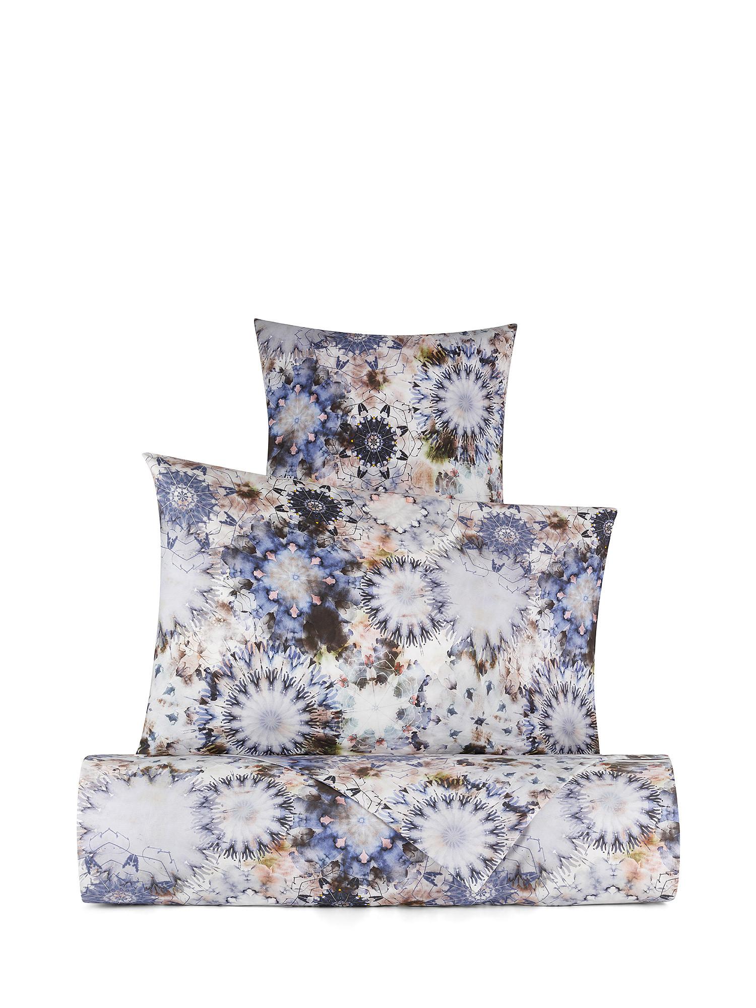 Federa cotone percalle fantasia floreale, Blu, large image number 1