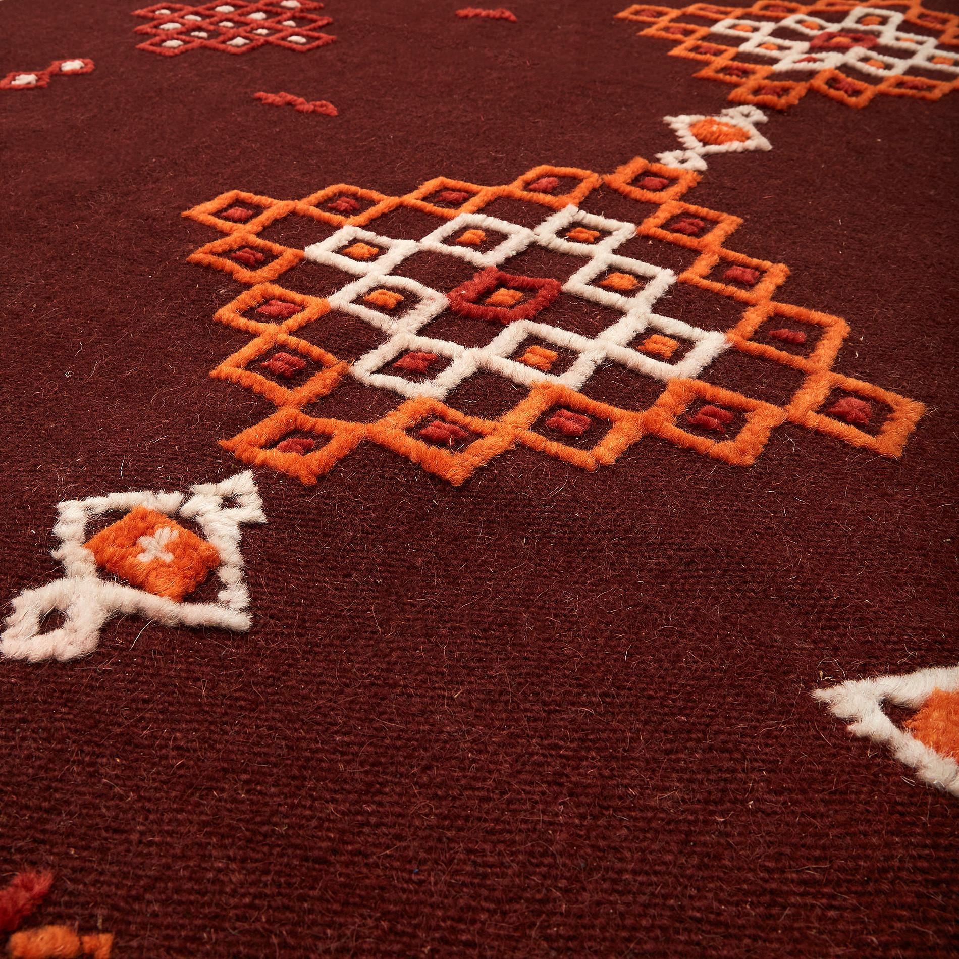 Tappeto lana tessuto a mano motivo kilim, Rosso scuro, large image number 1