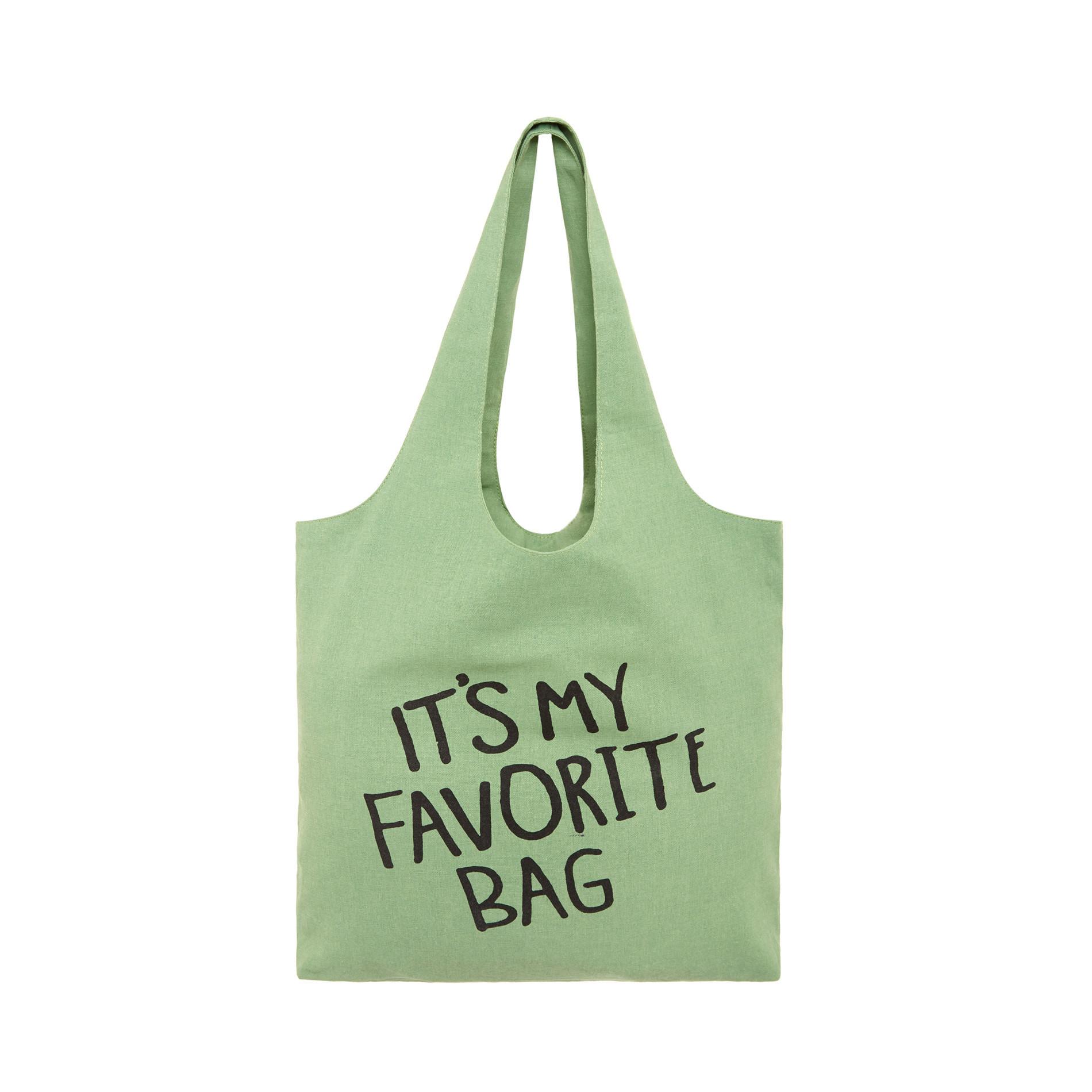 Shopper bag tessuto It's my favorite bag, Verde, large image number 0
