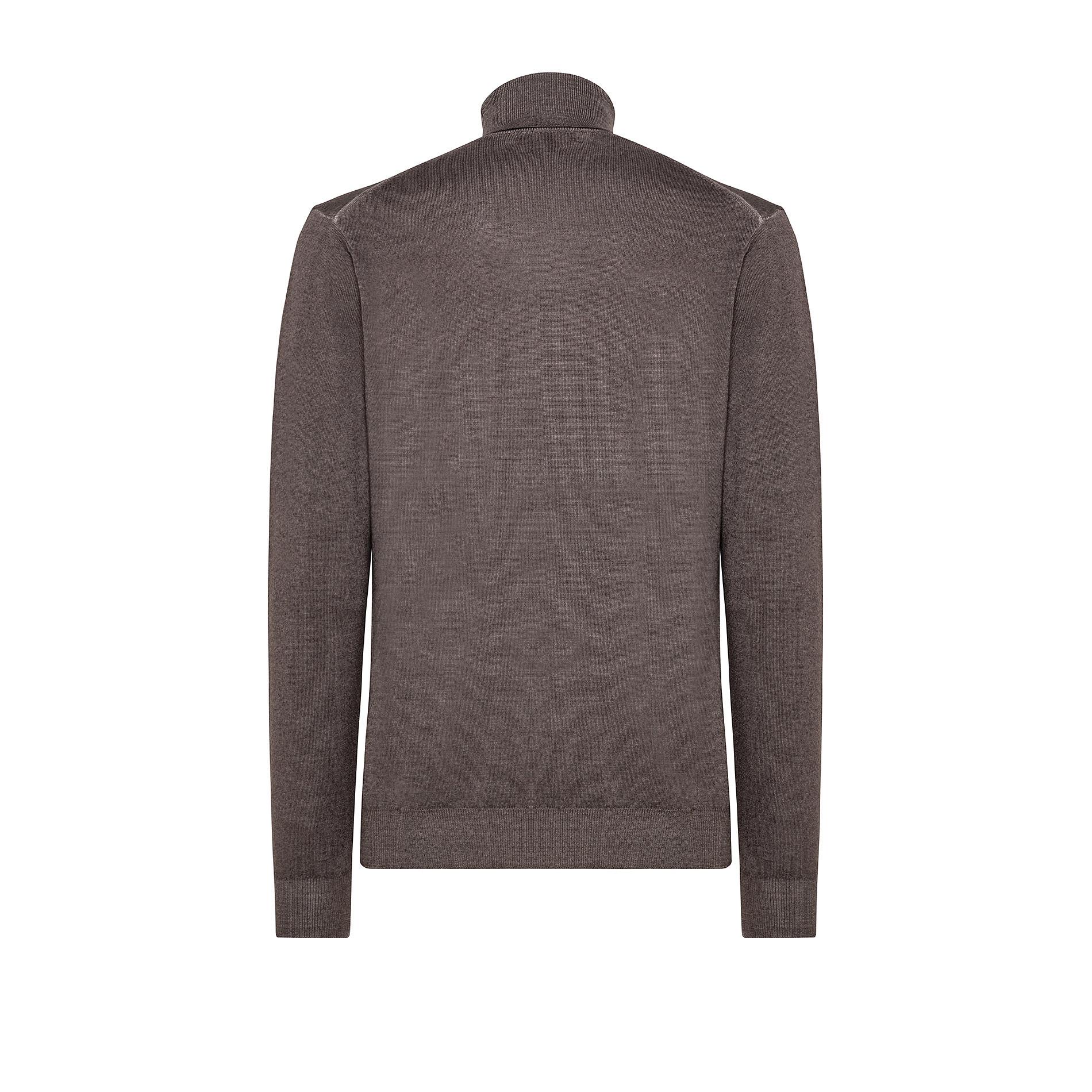 Pullover lana merinos collo alto, Marrone, large image number 1