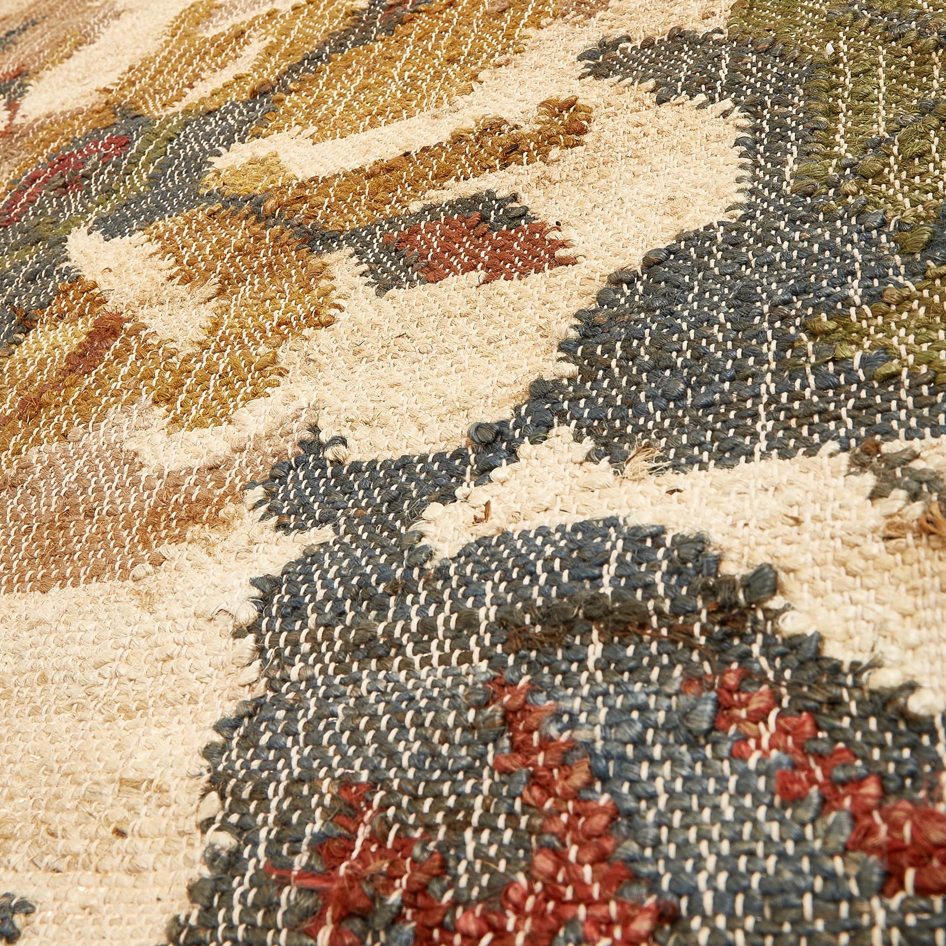 Tappeto juta e lana motivo floreale, Beige, large image number 1