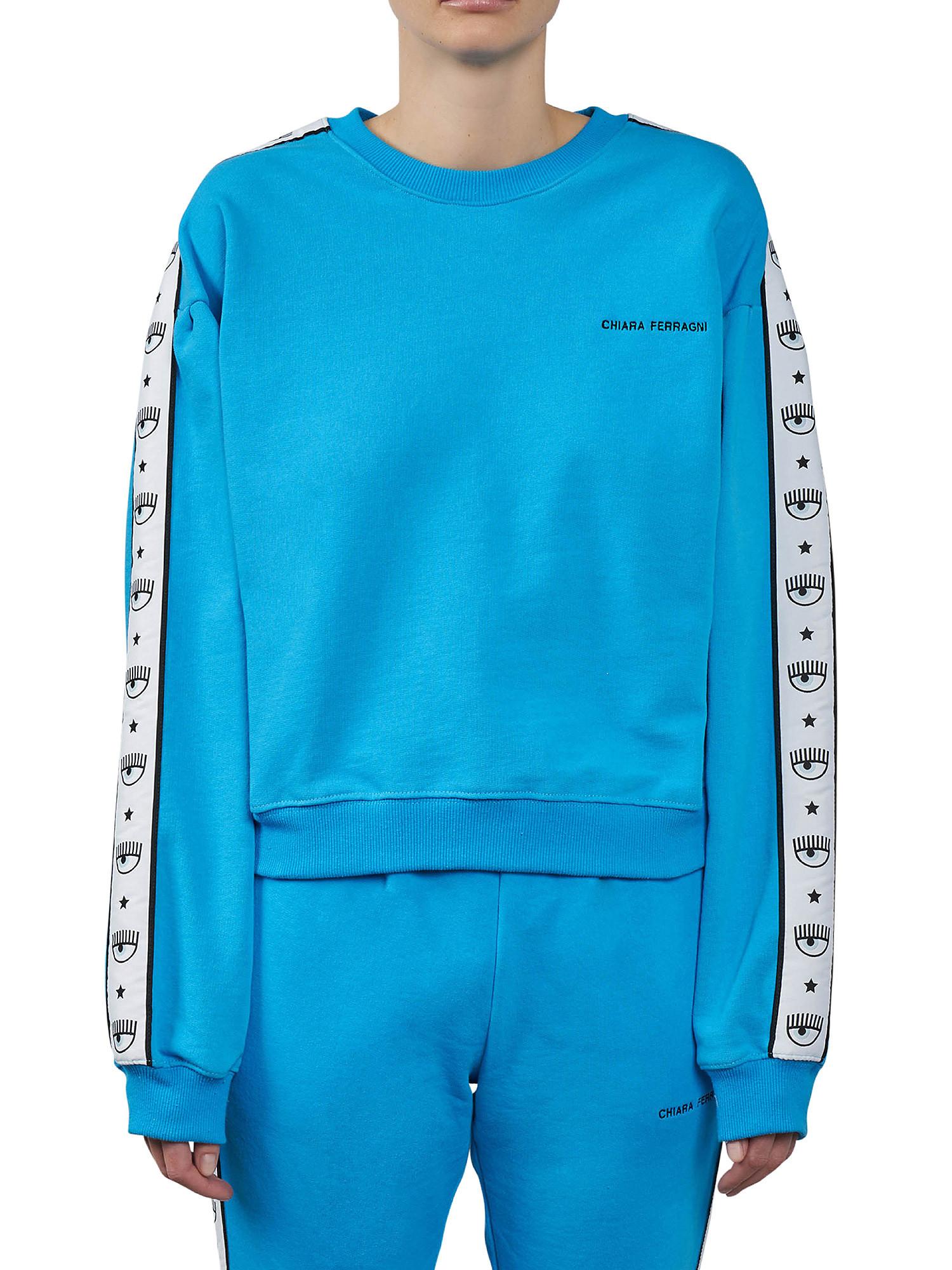 Maxi sleeve Logomania sweatshirt, Azzurro turchese, large image number 1