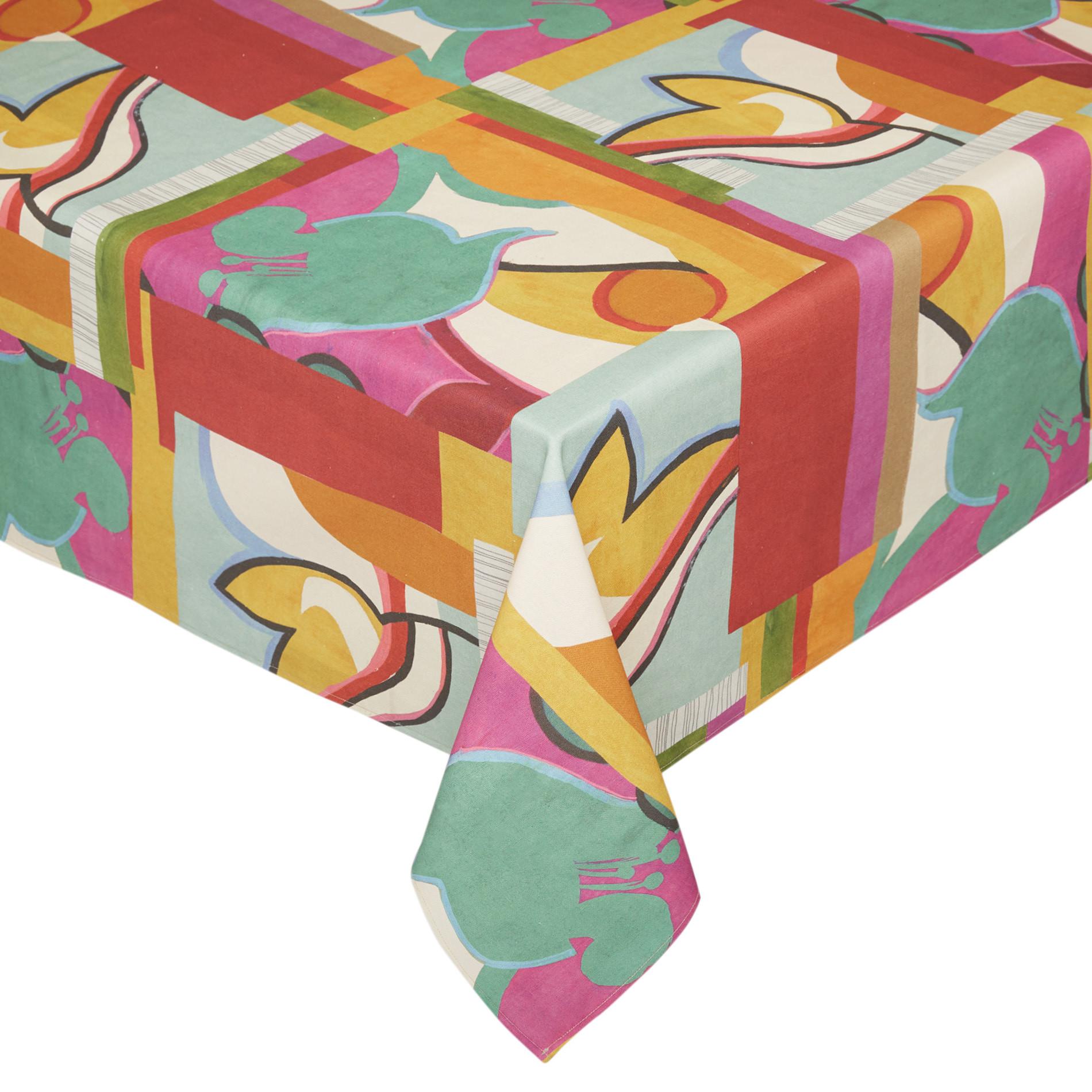 Tovaglia puro cotone stampa astratta, Multicolor, large image number 0
