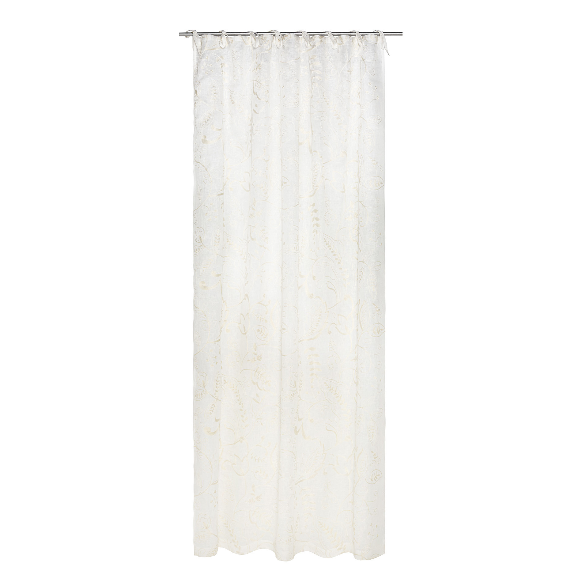Tenda puro lino ricami floreali, Bianco, large image number 2