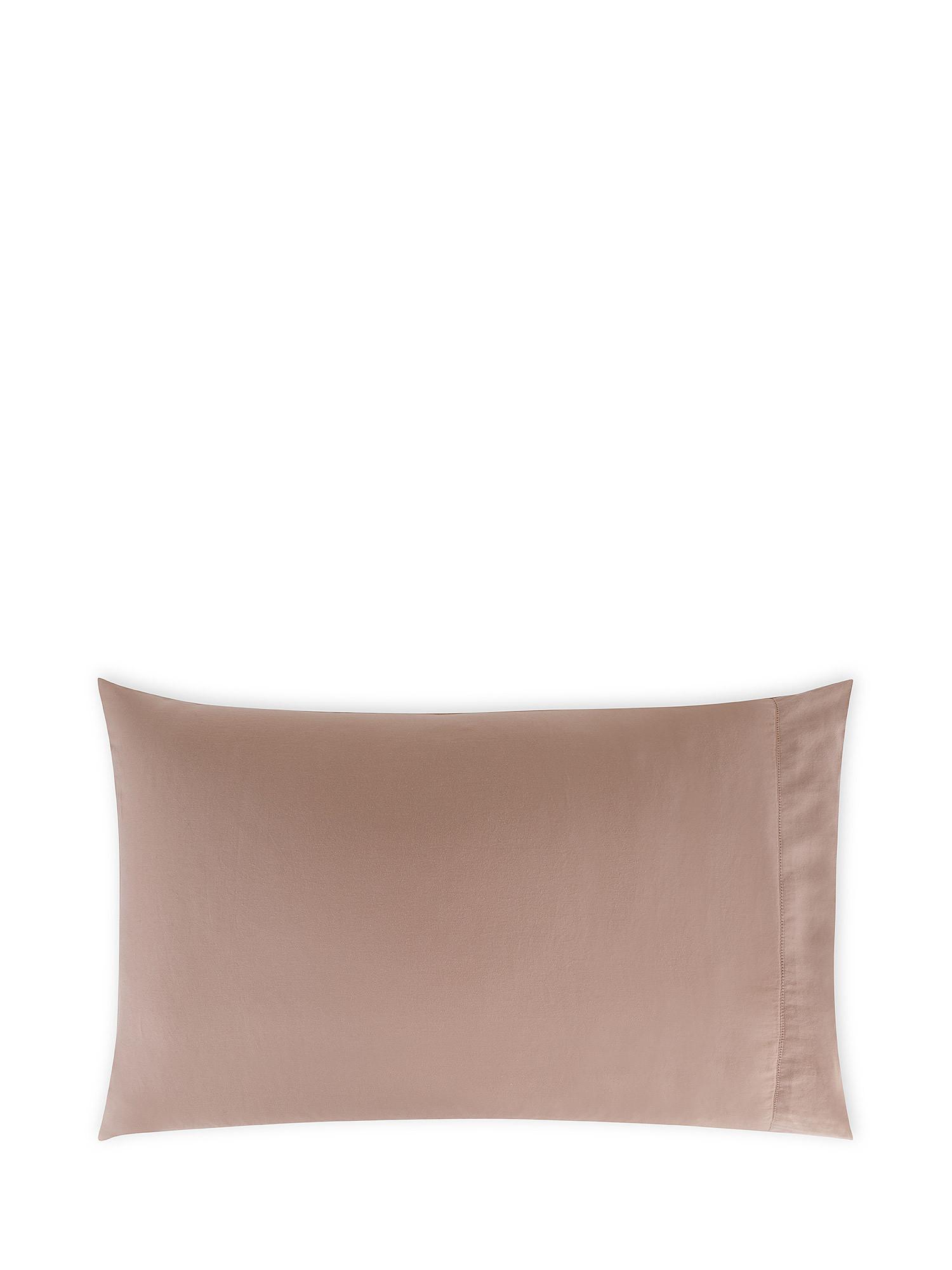Federa raso di cotone lavato orlo à-jour, Rosa, large image number 0