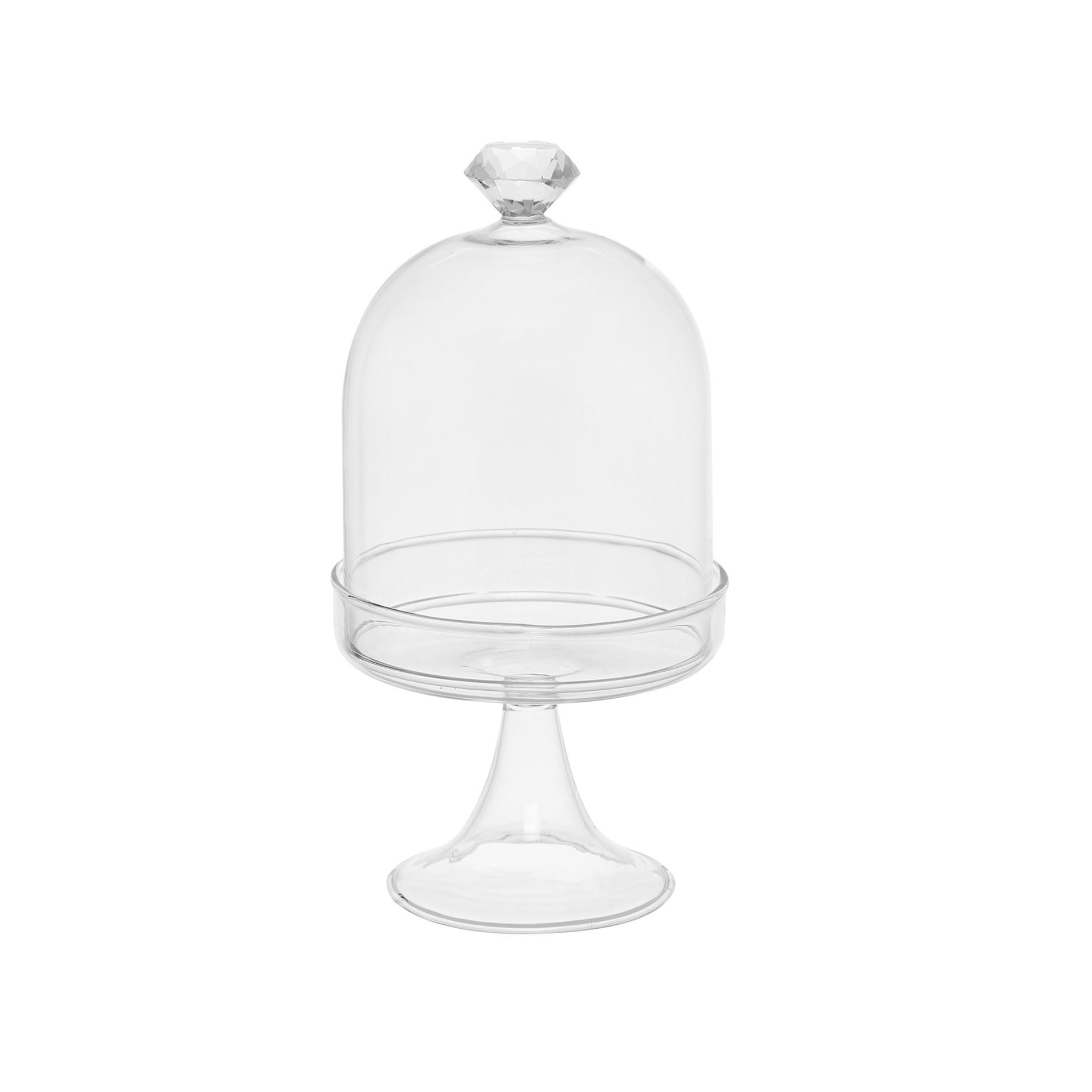 Alzata vetro con diamante, Bianco, large image number 0