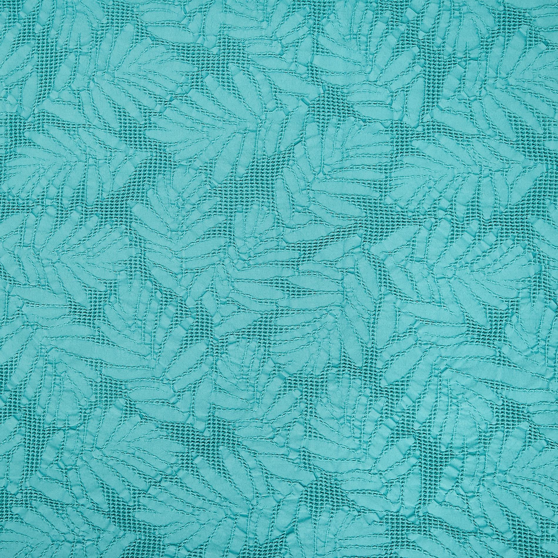 Copriletto puro cotone fantasia foglie, Verde smeraldo, large image number 1
