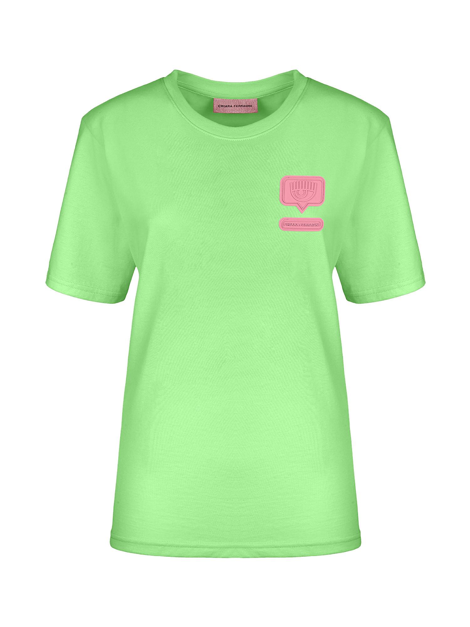Eyelike patch T-Shirt over, Verde acido, large image number 0