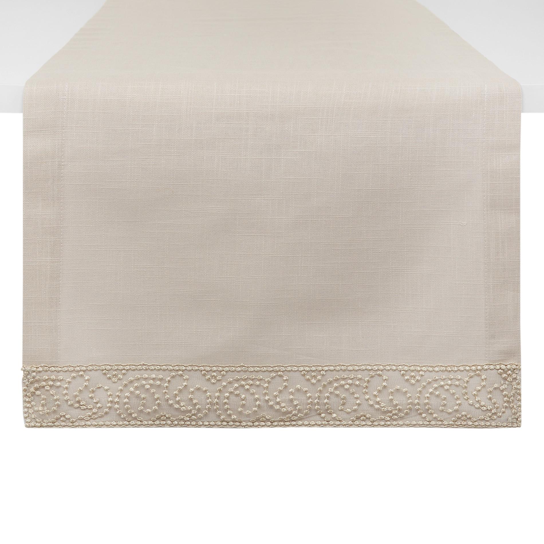 Runner puro cotone bordo in tulle e lurex, Beige chiaro, large image number 0