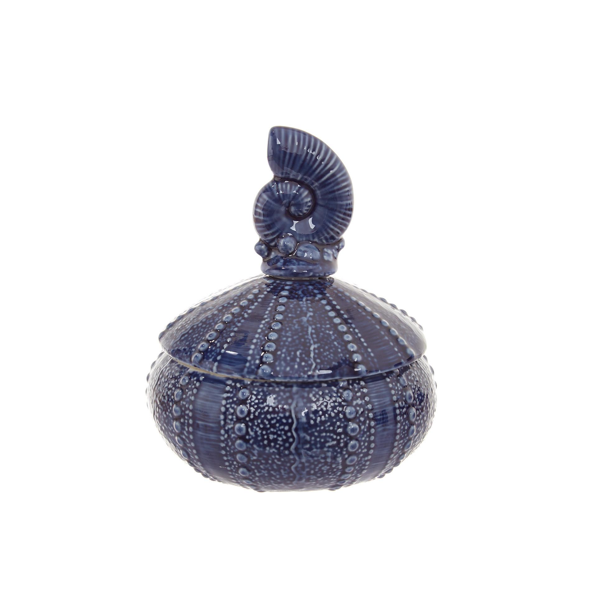 Barattolo porcellana decoro conchiglia, Blu, large image number 0