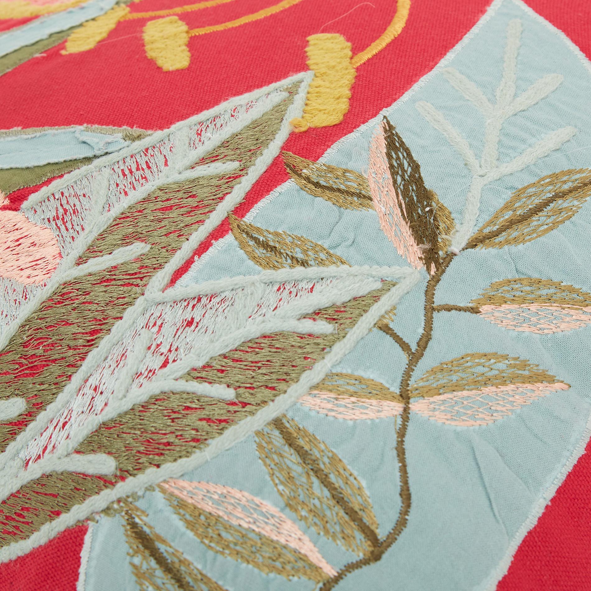 Cuscino ricamo foglie 45x45cm, Rosso, large image number 3