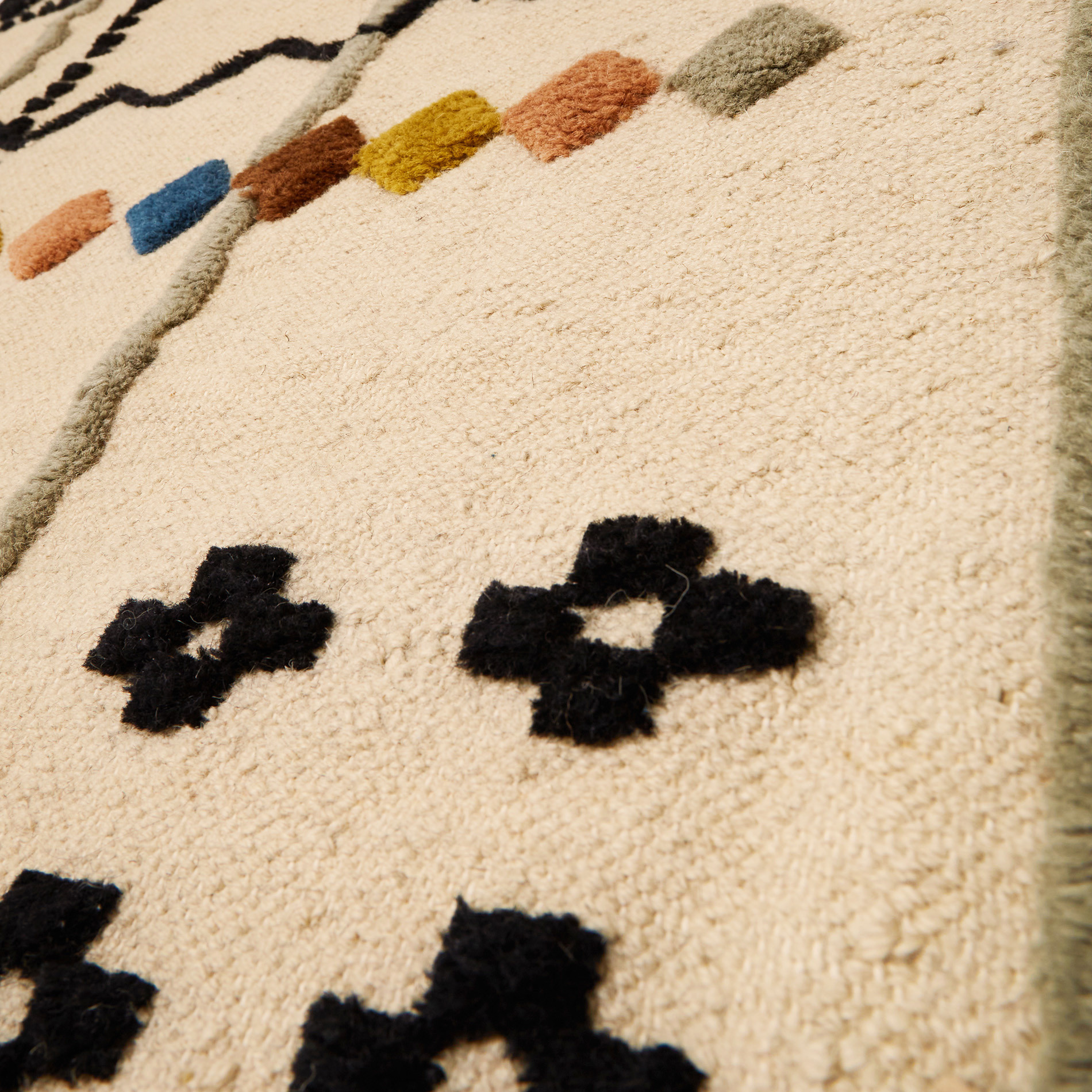 Tappeto tessuto a mano motivo geometrico, Beige, large image number 1