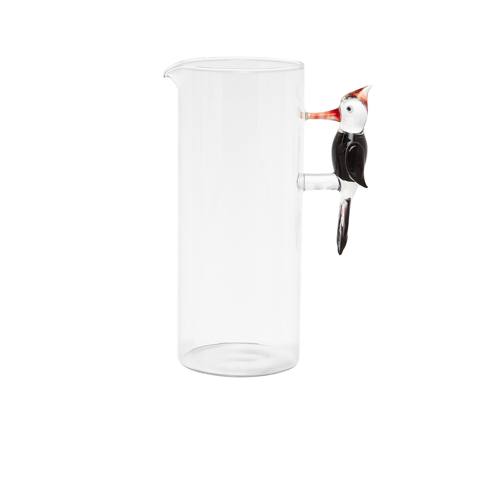 Caraffa vetro dettaglio picchio, Trasparente, large image number 0