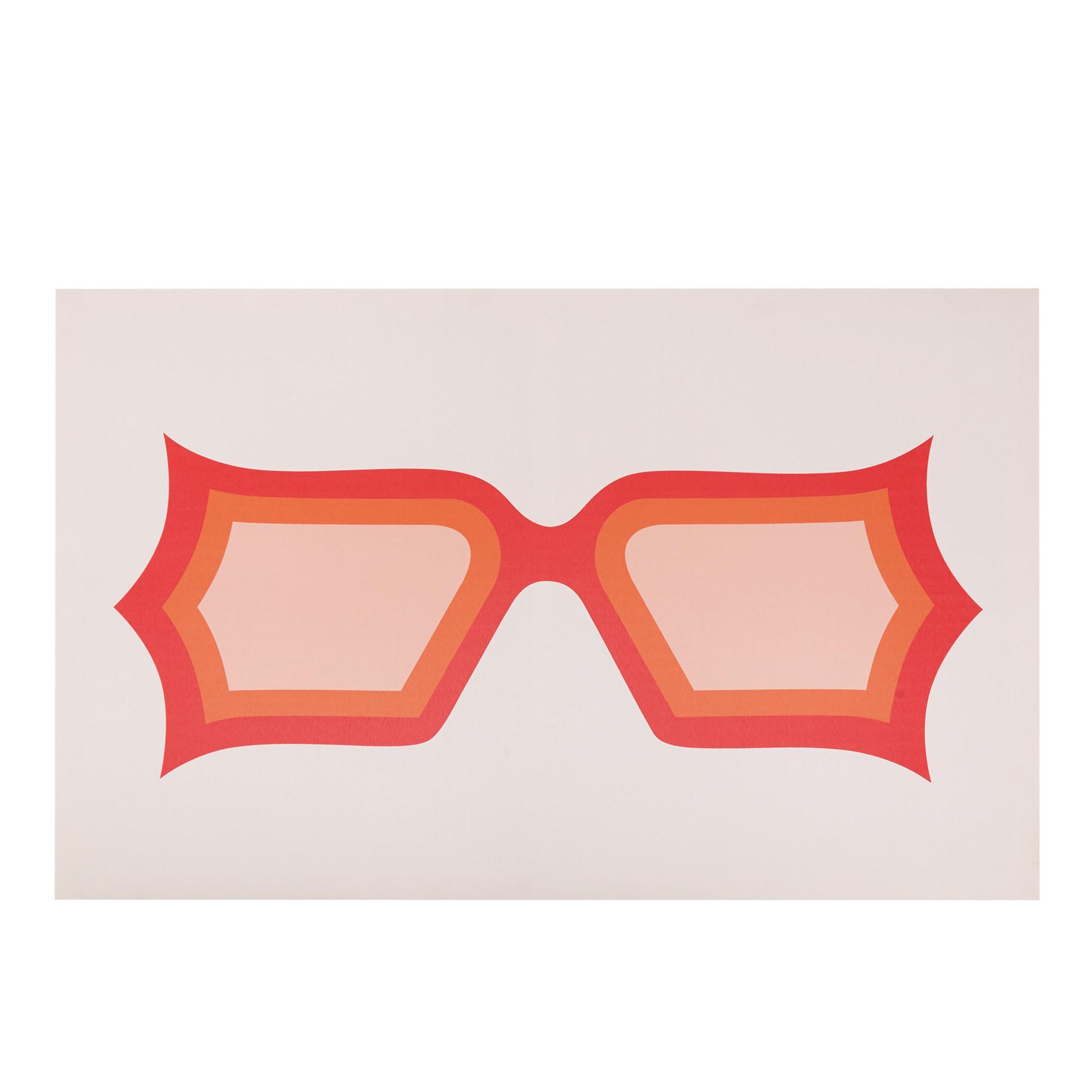 Tela con stampa fotografica occhiali, Arancione, large image number 0
