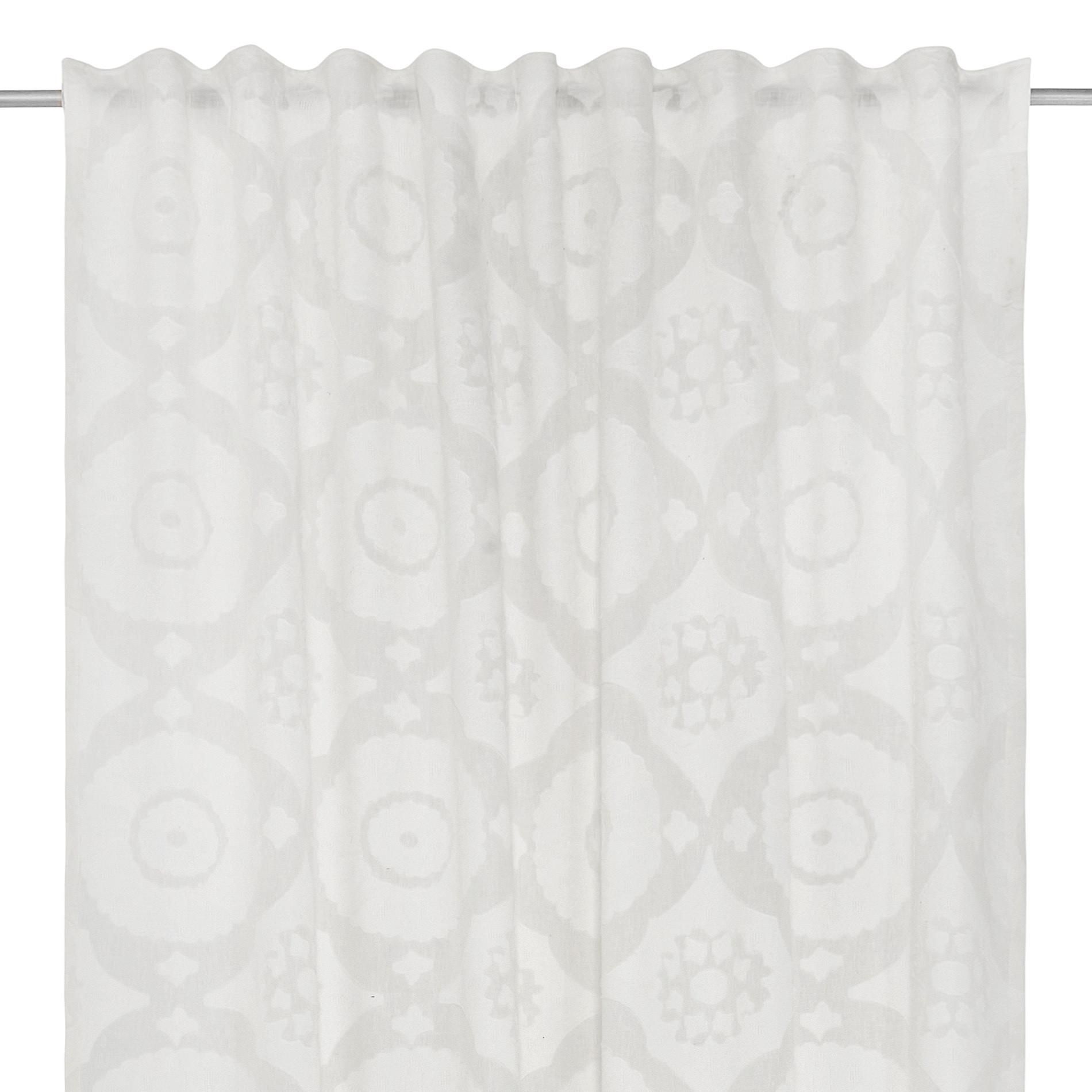 Tenda devore motivo geometrico passanti nascosti, Bianco, large image number 3