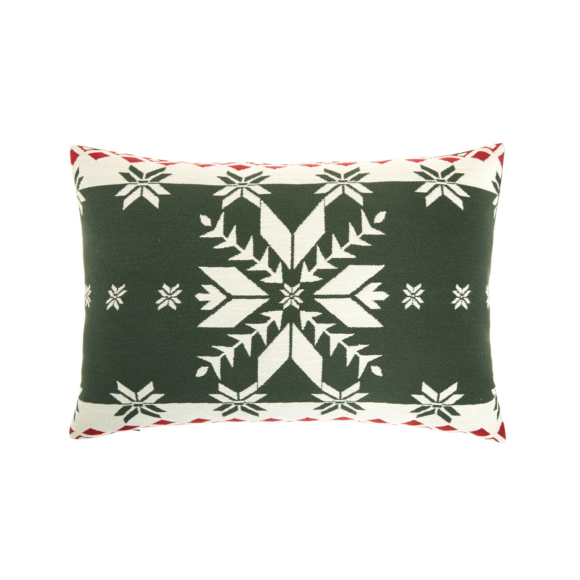 Cuscino jacquard motivo natalizio 35x55cm, Verde scuro, large image number 0