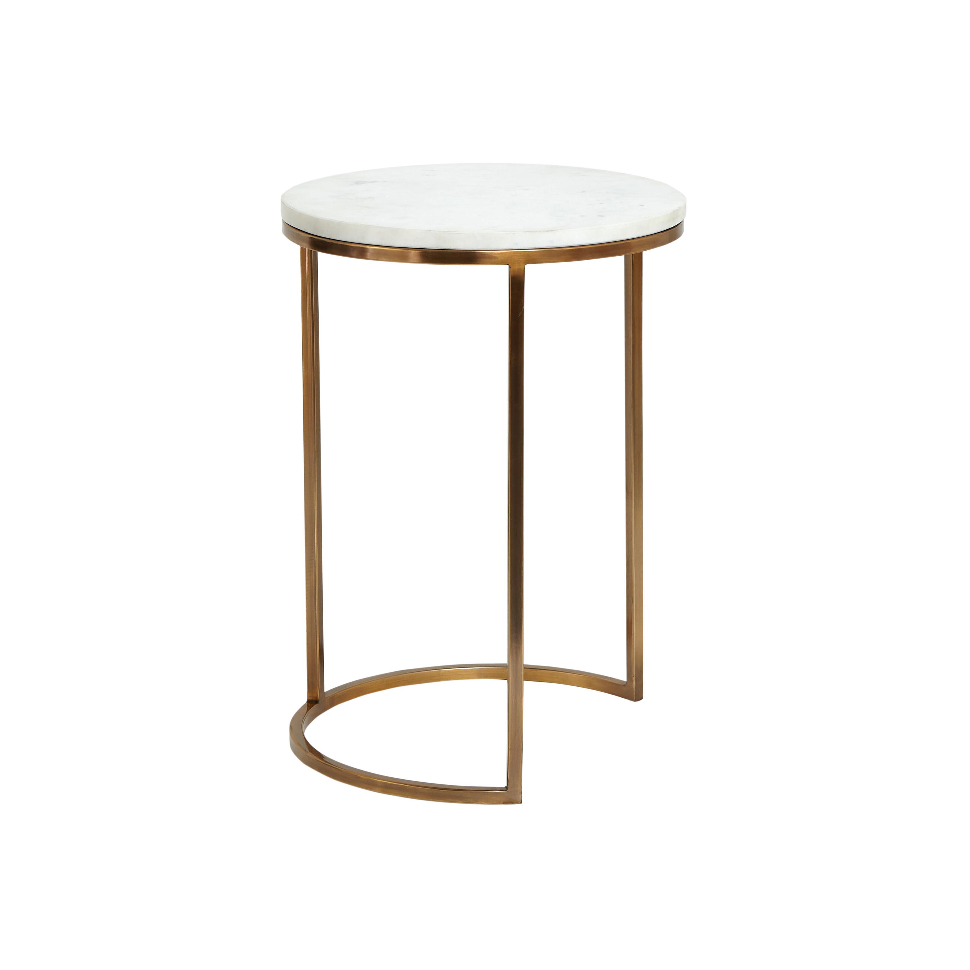 Set 2 tavolini acciaio e marmo Marble, Bianco, large image number 1